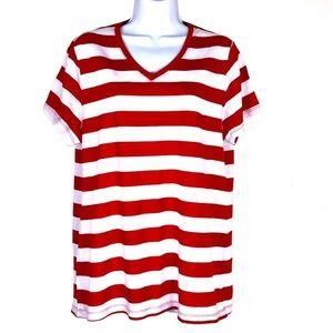 Faded Glory Red Striped V-Neck Shirt Sz XXL 2XG 20